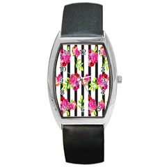 Flower Rose Barrel Style Metal Watch