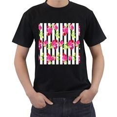 Flower Rose Men s T-Shirt (Black) (Two Sided)