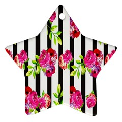 Flower Rose Star Ornament (Two Sides)