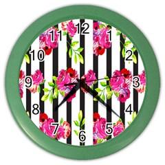 Flower Rose Color Wall Clocks