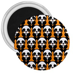 Halloween Night Cute Panda Orange 3  Magnets