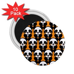 Halloween Night Cute Panda Orange 2.25  Magnets (10 pack)