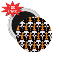 Halloween Night Cute Panda Orange 2.25  Magnets (100 pack)