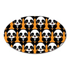 Halloween Night Cute Panda Orange Oval Magnet