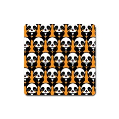 Halloween Night Cute Panda Orange Square Magnet