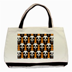 Halloween Night Cute Panda Orange Basic Tote Bag