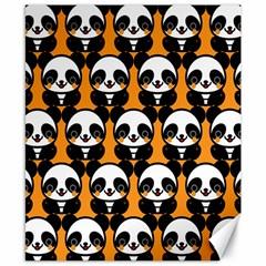 Halloween Night Cute Panda Orange Canvas 8  x 10