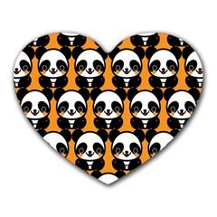 Halloween Night Cute Panda Orange Heart Mousepads