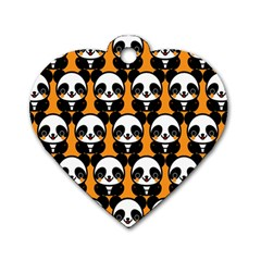Halloween Night Cute Panda Orange Dog Tag Heart (One Side)