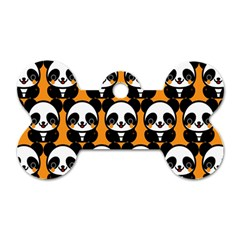 Halloween Night Cute Panda Orange Dog Tag Bone (One Side)