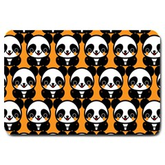 Halloween Night Cute Panda Orange Large Doormat