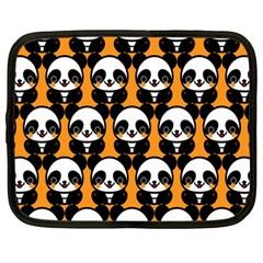 Halloween Night Cute Panda Orange Netbook Case (Large)