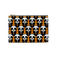 Halloween Night Cute Panda Orange Cosmetic Bag (Medium)