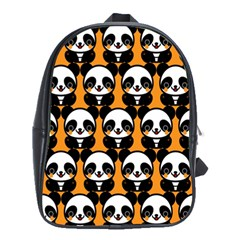 Halloween Night Cute Panda Orange School Bags(Large)