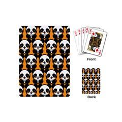 Halloween Night Cute Panda Orange Playing Cards (Mini)