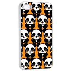Halloween Night Cute Panda Orange Apple iPhone 4/4s Seamless Case (White)