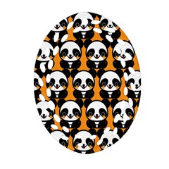Halloween Night Cute Panda Orange Oval Filigree Ornament (2-Side)