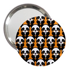Halloween Night Cute Panda Orange 3  Handbag Mirrors