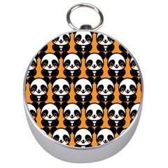 Halloween Night Cute Panda Orange Silver Compasses
