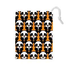 Halloween Night Cute Panda Orange Drawstring Pouches (Large)