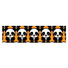 Halloween Night Cute Panda Orange Satin Scarf (Oblong)