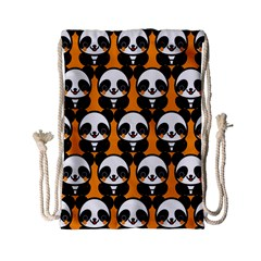 Halloween Night Cute Panda Orange Drawstring Bag (Small)