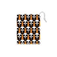 Halloween Night Cute Panda Orange Drawstring Pouches (XS)