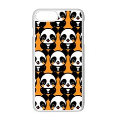 Halloween Night Cute Panda Orange Apple Iphone 7 Plus White Seamless Case