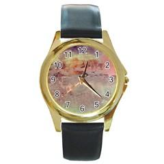 Sunrise Round Gold Metal Watch