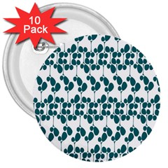 Flower Tree Blue 3  Buttons (10 pack)