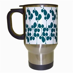 Flower Tree Blue Travel Mugs (White)