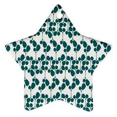 Flower Tree Blue Star Ornament (Two Sides)
