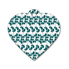 Flower Tree Blue Dog Tag Heart (Two Sides)