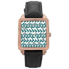 Flower Tree Blue Rose Gold Leather Watch