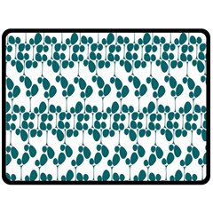 Flower Tree Blue Double Sided Fleece Blanket (Large)