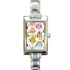 Highres Owls Rectangle Italian Charm Watch