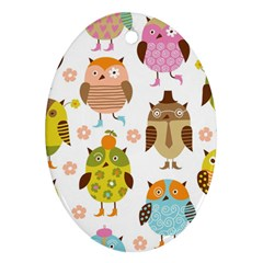 Highres Owls Ornament (oval)