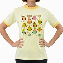 Highres Owls Women s Fitted Ringer T-Shirts