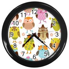 Highres Owls Wall Clocks (Black)