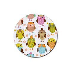 Highres Owls Rubber Round Coaster (4 pack)