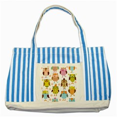 Highres Owls Striped Blue Tote Bag