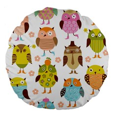 Highres Owls Large 18  Premium Flano Round Cushions