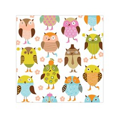 Highres Owls Small Satin Scarf (Square)