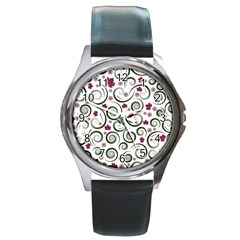 Leaf Back Purple Copy Round Metal Watch