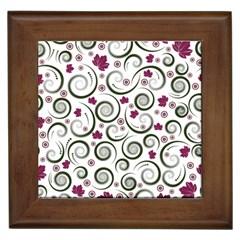 Leaf Back Purple Copy Framed Tiles