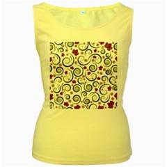 Leaf Back Purple Copy Women s Yellow Tank Top