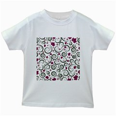 Leaf Back Purple Copy Kids White T-Shirts