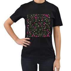 Leaf Back Purple Copy Women s T-Shirt (Black) (Two Sided)