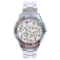 Leaf Back Purple Copy Stainless Steel Analogue Watch