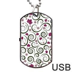 Leaf Back Purple Copy Dog Tag USB Flash (One Side)